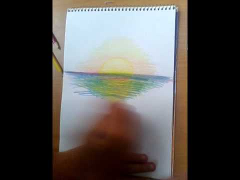 Нарисованная карандашом закат