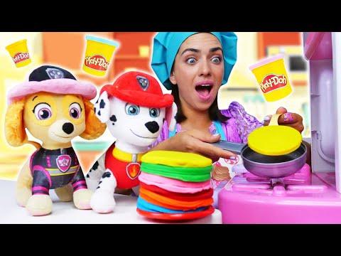 Щенячий Патруль в гостях у Принцессы! Игры для детей Готовлю Игрушкам. Мегащенки помогают готовить