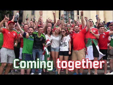 Northern Ireland and Wales fans coming together (Jun 25, 2016)