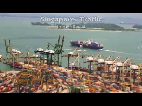 Dynamic Singapore. Port, Traffic, People.  Time Lapse