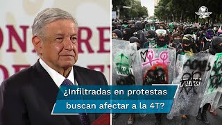 """El Presidente Andrés Manuel López Obrador señaló que se debe respetar la libertad de manifestación de ideas, pero indicó que """"se enrarece mucho"""" el ambiente porque se mezclan intereses de grupos con demandas justas"""