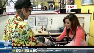 Eyewitness News reporter gives 'lucky' man a tattoo for Friday the 13th