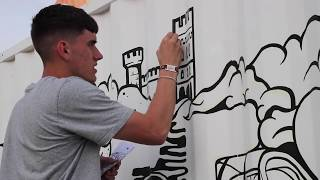Watch Pilot Pintor being  used to create stunning mural on a shipping container