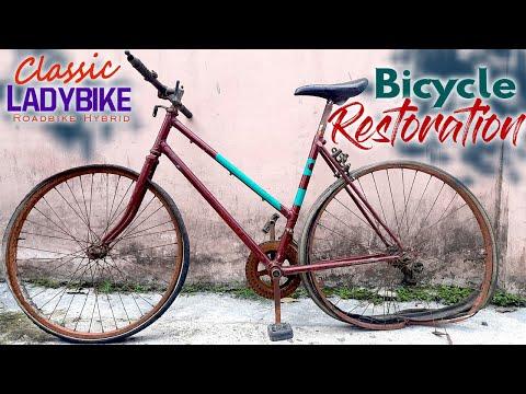 BICYCLE RESTORATION BUILD FROM WRECKAGE   LADYBIKE HYBRID   thumbnail