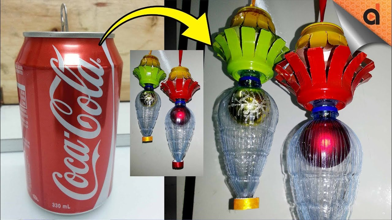 How to make a christmas decoration using recycled materials - How To Make Christmas Lantern Using Soda Can Other Recycled Materials