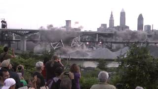 Cleveland I90 Bridge Demolition Slow Motion