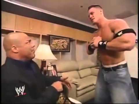 John cena goes after Kurt Angle backstage