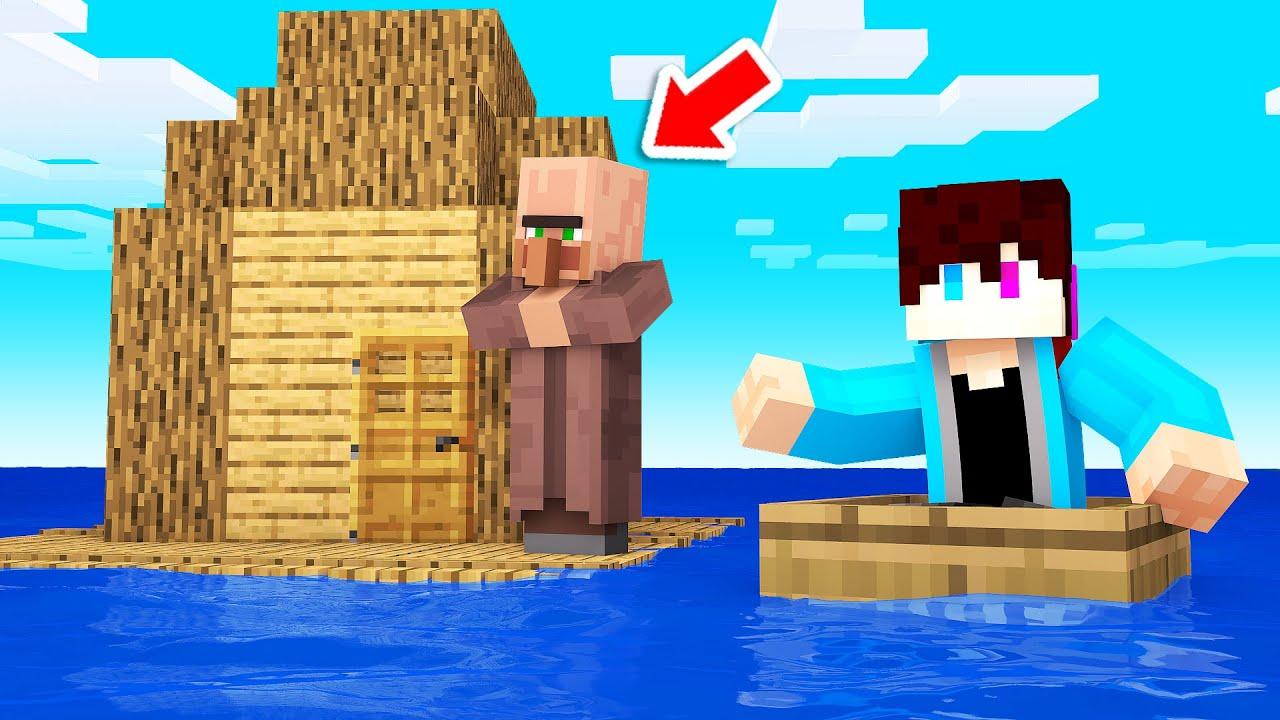 Een DORP BOUWEN Op Mijn RAFT! (Minecraft)