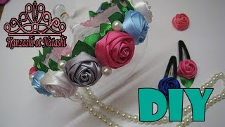 Ободок с розами Канзаши МК.DIY