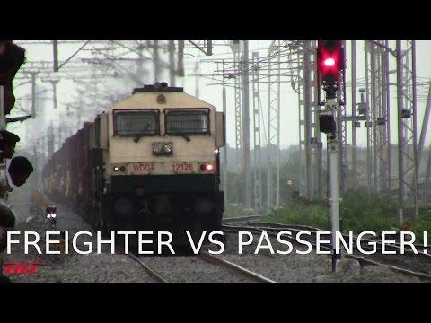 Indian Railways: Freighter Crossing Passenger