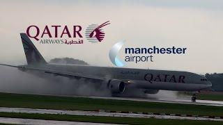 Qatar 777 Breathtaking Bad Weather Landing at Manchester!