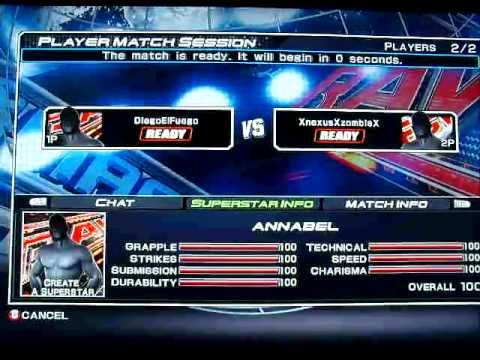 Annabel(hack Female) VS Male Online Match TABLES - WWE SVR2011