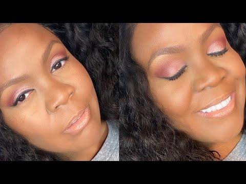 Soft Glam Makeup Tutorial Woc | How To Black Women | Brown Skin thumbnail
