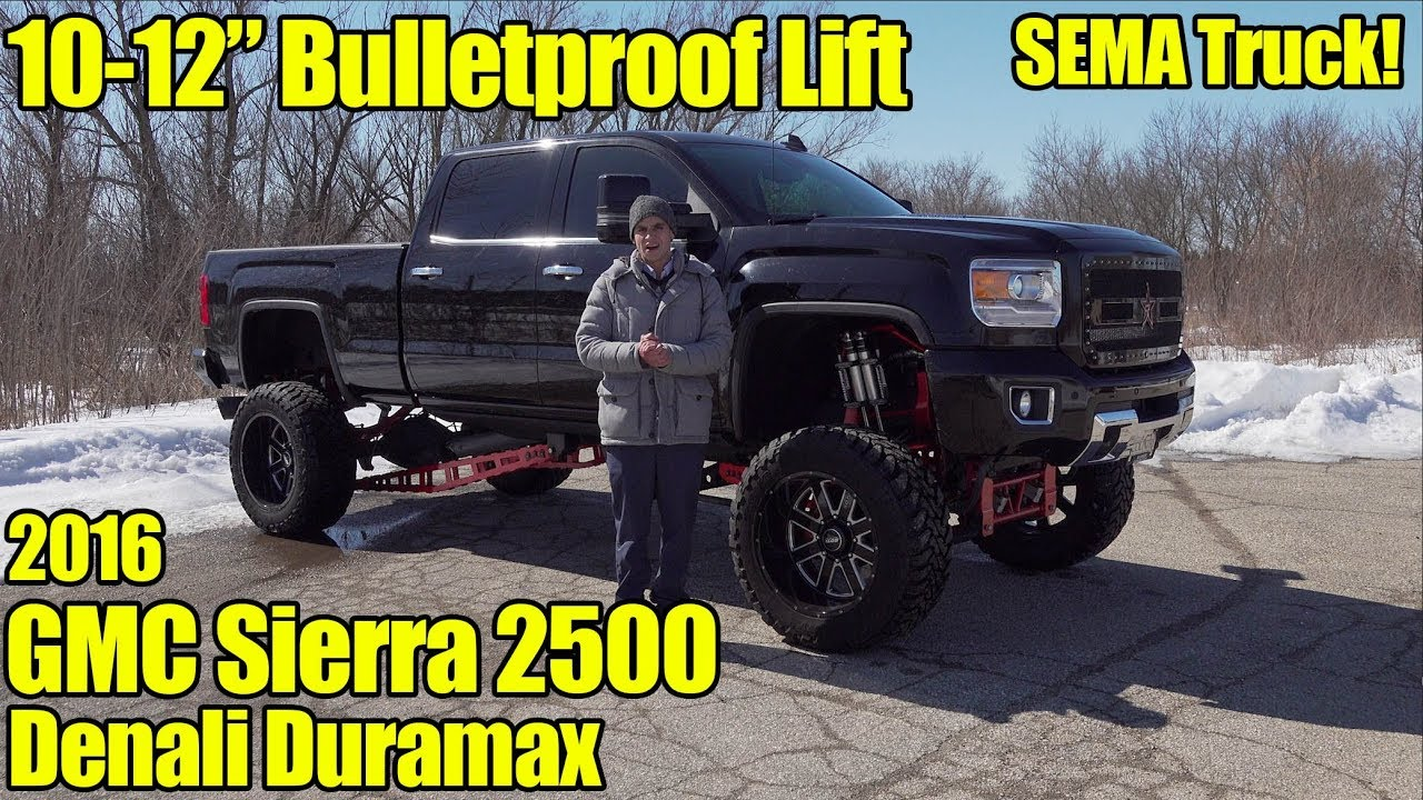 Lifted Gmc Denali For Sale >> Lifted 2016 Gmc Sierra 2500 Denali Duramax Sema Truck For Sale 10 12 Inch Bulletproof Suspension