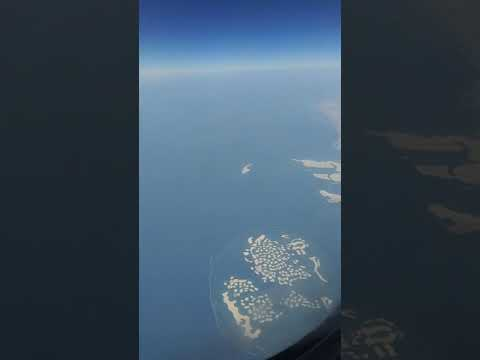 Aerial View of Dubai's the world island  My travelling moment of Dubai's the world Island  Qatar air