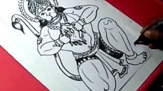 How to LORD HANUMAN DRAWING for kids step by step