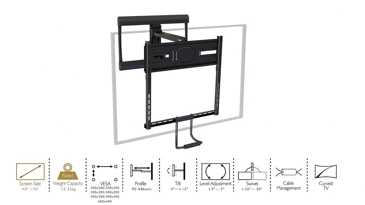 Above fireplace pull down full motion for 43 70 tv wall - Pull down tv mount over fireplace ...