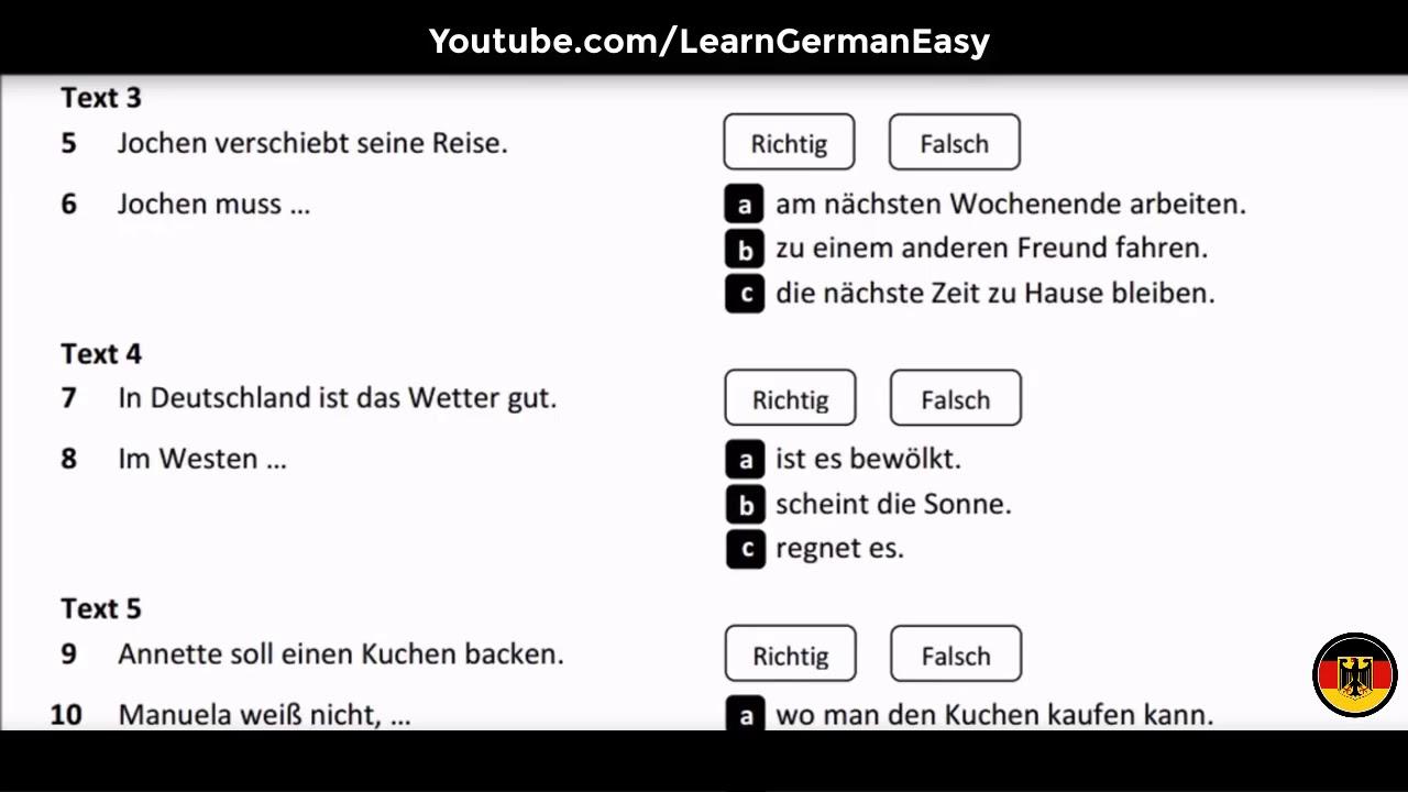 Goethe ösd Zertifikat B1 Modelltest 1 Hören Teil 1 Youtube