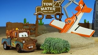 Disney Cars meet Planes - Movie 4 Dusty Crashes into sand!! Cars Toys Movies