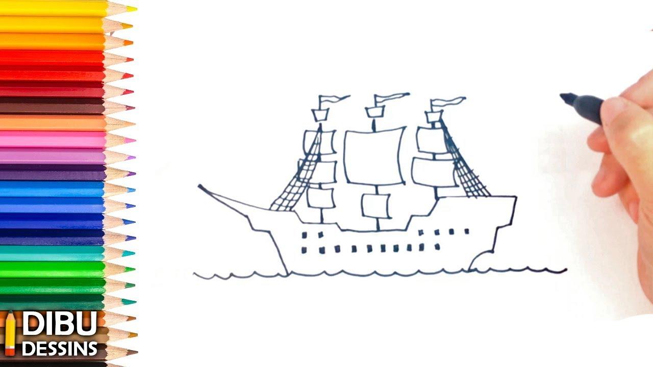 Comment dessiner un bateau pirate dessin de bateau pirate youtube - Bateau a dessiner ...