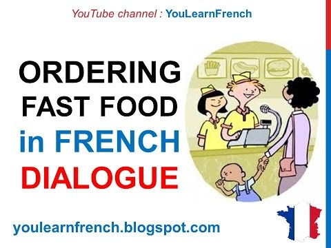 French Lesson 80 - At the fast food - Cafeteria Restaurant Ordering food +  English subtitles