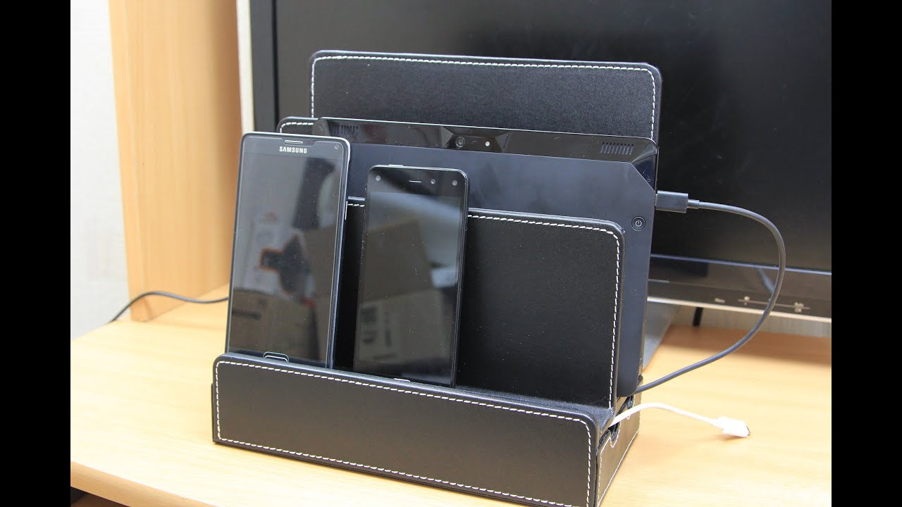 Multiple Devices Charging Station Dock Organizer Cell Phones Tablets Macbook Pu Leather Review
