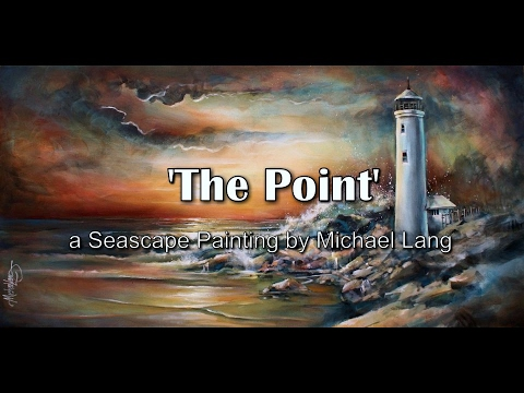 Seascape Painting 'The Point' Start to Finish, Sunset, Lighthouse, Waves
