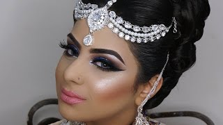 dramatic blue smokey eyes   asian bridal makeup   photoshoot