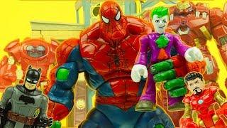 SPIDER HULK ! SPIDERMAN & HULK combine ! with IRON MAN & BATMAN avengers superhero figures