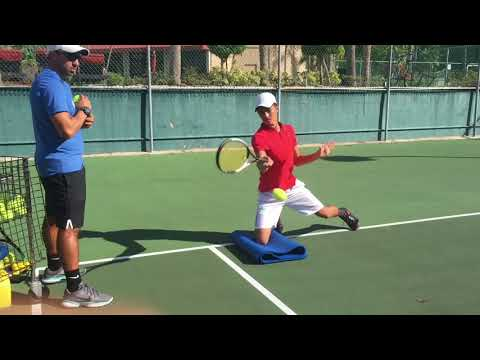 Advanced Tennis drills for open stance stance forehand, open stance backhand and slice, Brian Dabul