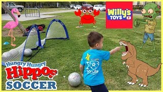 Learn To Play Soccer with Dinosaurs Zombies and Hungry Hungry Hippos - Willy