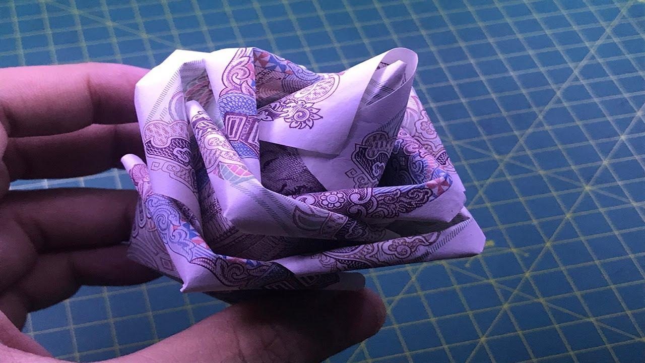 ORIGAMI hướng dẫn cách làm hoa hồng bằng tiền giấy money origami flower rose