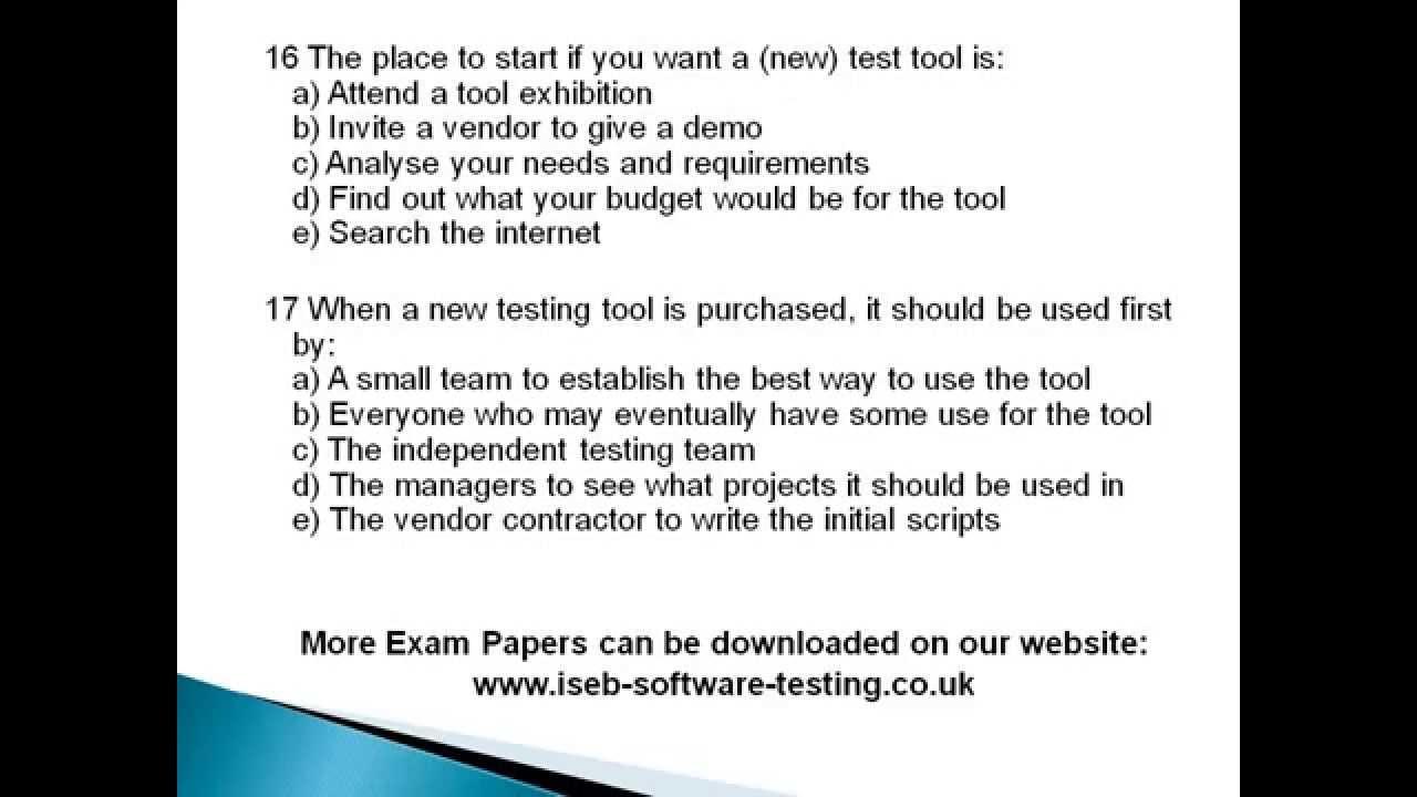 Istqb foundation level exam paper 3 iseb software testing istqb foundation level exam paper 3 iseb software testing xflitez Gallery