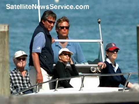 HYANNISPORT, MA- Senator Edward Kennedy, Edward Kennedy Jr and Vicki Kennedy in Powerboat (05-25-09)