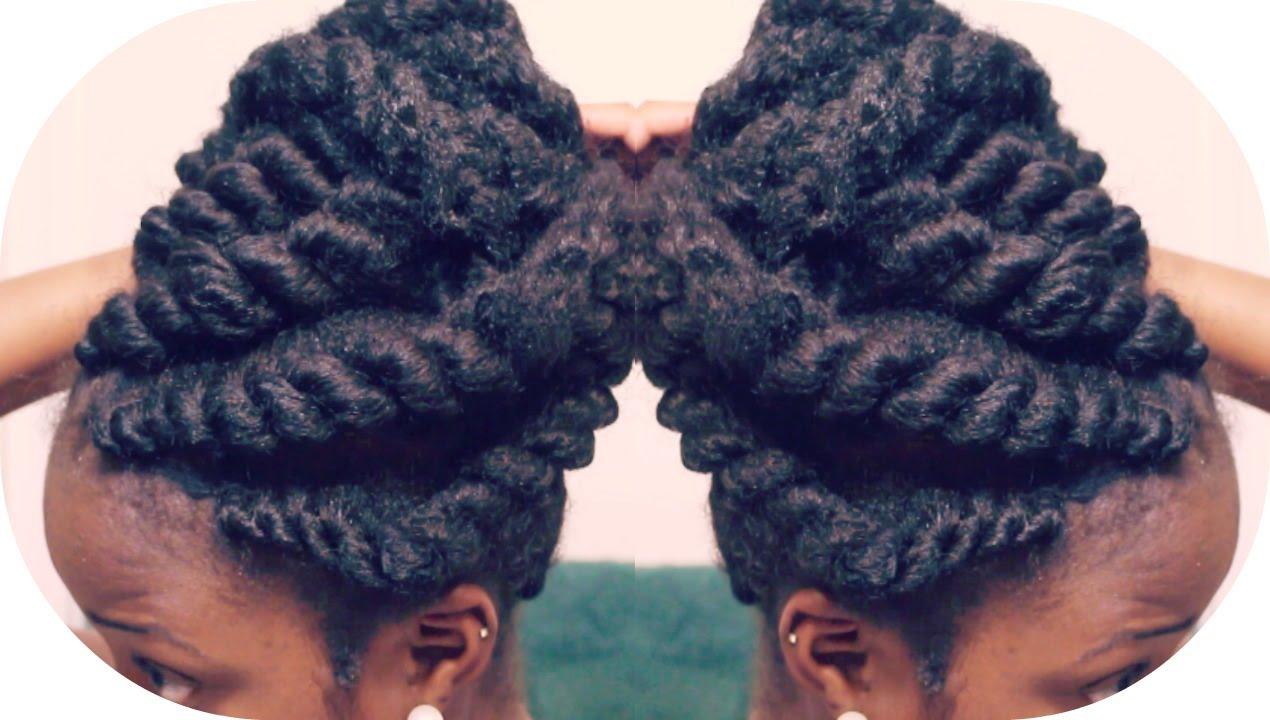 Flat Twist Updo Using Marley Braiding Hair Summer Protective