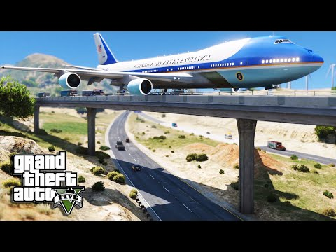 GTA 5 Air Force One Plane - Emergency Crash Landing On Bridge (Air Force 1 Mod)