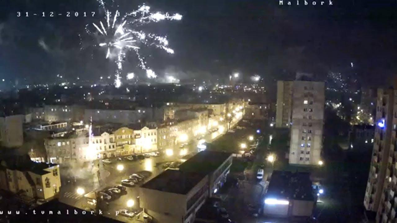 Malbork przywitał  2018 rok. Fajerwerki okiem kamer TvMalbork. Szczęśliwego Nowego Roku !