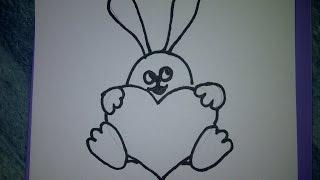 Рисуем, оформляем  открытки на день рождения или другой праздник (заяц с сердцем)