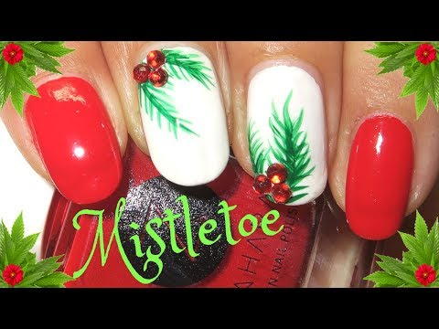Easy Christmas Nails  Mistletoe Nail Art Tutorial  Designyournailsbyisha