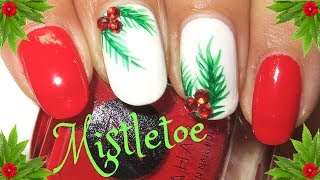 Easy Christmas Nails | Mistletoe Nail Art Tutorial | Designyournailsbyisha