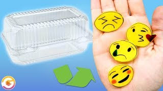 DIY Emoji Pins using Recycled Food Containers!