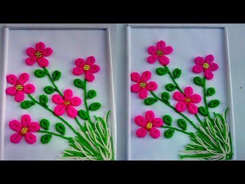 wall woolen flowers frame   how to make woolen flowers   handmade woolen flowers