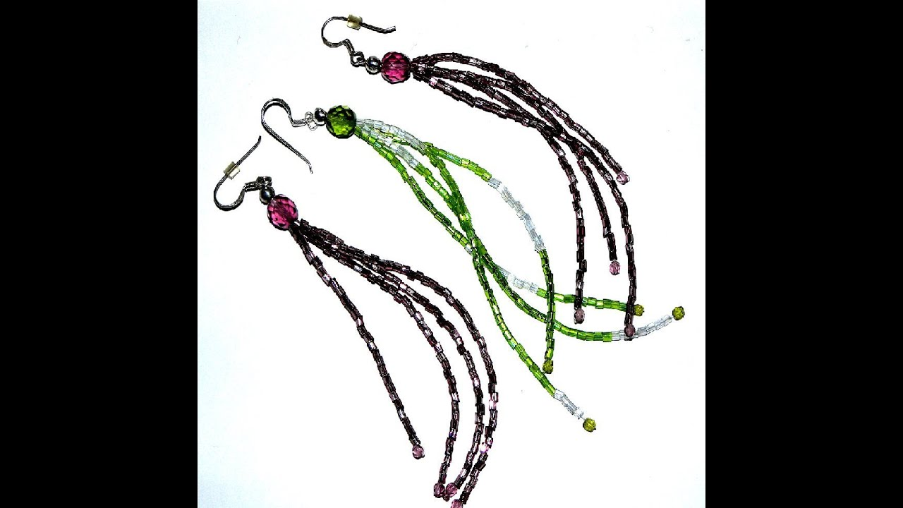 Beading Projects - How to make a Horsetail earrings