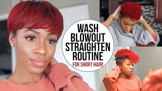 Wash, Blow Dry and Flat Iron Routine for Short Natural Hair (TWA/Pixie Cut)! ▸ VICKYLOGAN