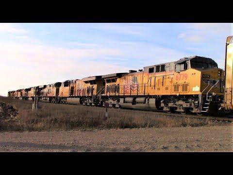 7-locomotive 179-car Union Pacific manifest west of Ogden, Iowa