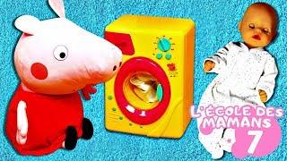 Vidéo en français pour enfants. L'école des mamans avec Peppa Pig №7 : machine à laver