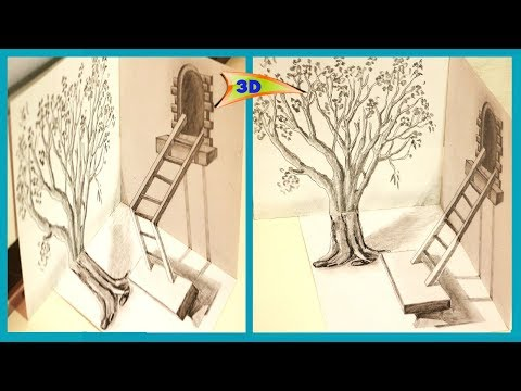 How To Draw Ladder Optical Illusion || DIY 3D Ladder Trick || ART and CRAFT || Open Mind