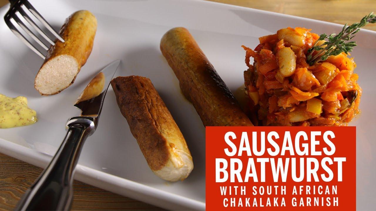 BRATWURST SAUSAGES with South African CHAKALAKA I MAGEFESA recipe