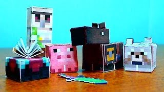DIY Minecraft Papercraft Utility Set- Horse, Pig, Iron Golem, Wolf, and Enchantment Table