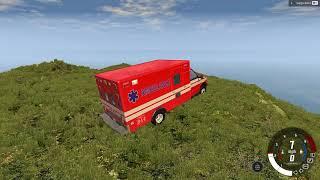 BeamNG.drive araba oyunu, uçurumdan aşağıya düşen araba simülasyon oyunu
